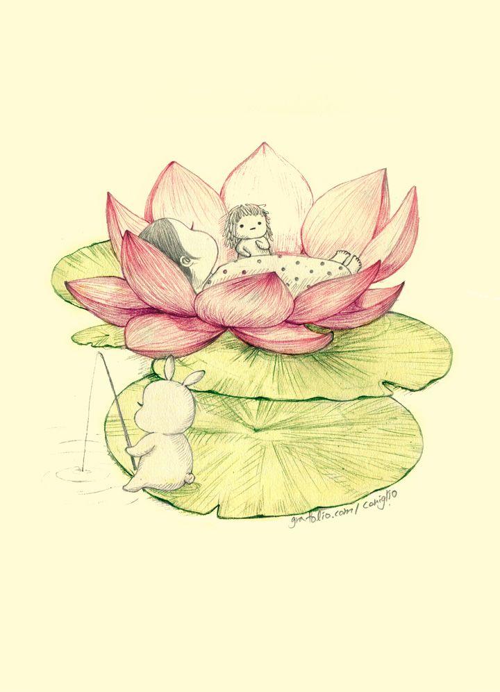 "Coniglio, ""연꽃낮잠"" (""Cradled on Waterlily"")"