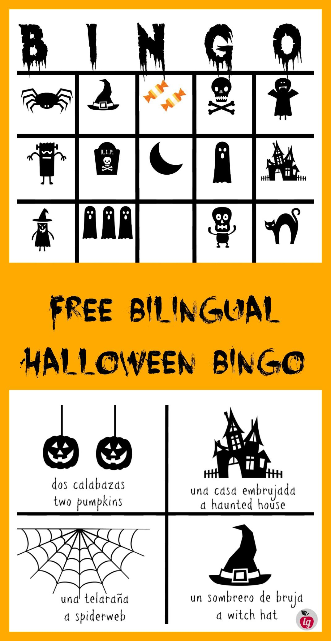 Free Printable Bilingual Halloween Bingo game (With images