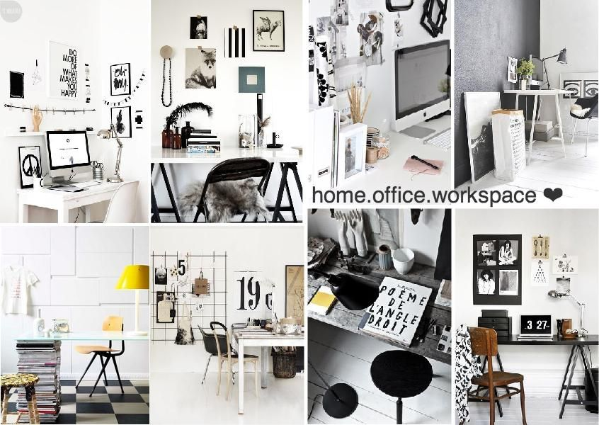 Black And White Home Office Workspace Scandinavian Inspired Interior Boards Pinterest