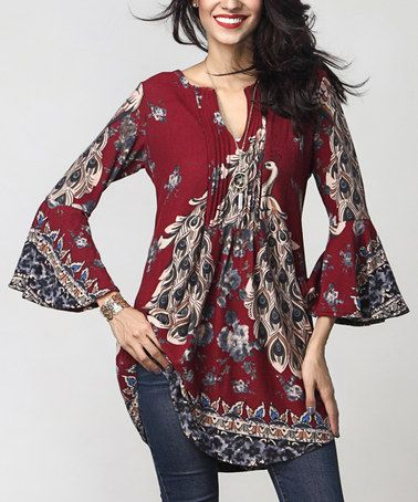 ab190e61 Love this Burgundy Peacock Notch Neck Bell-Sleeve Tunic on #zulily! # zulilyfinds