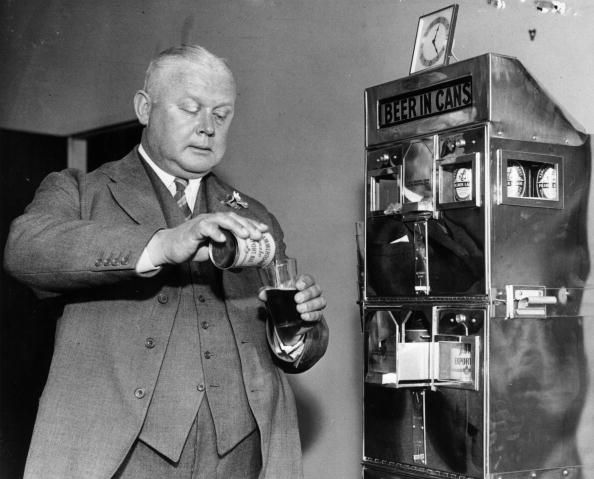A canned beer machine being tested out in London c.1937