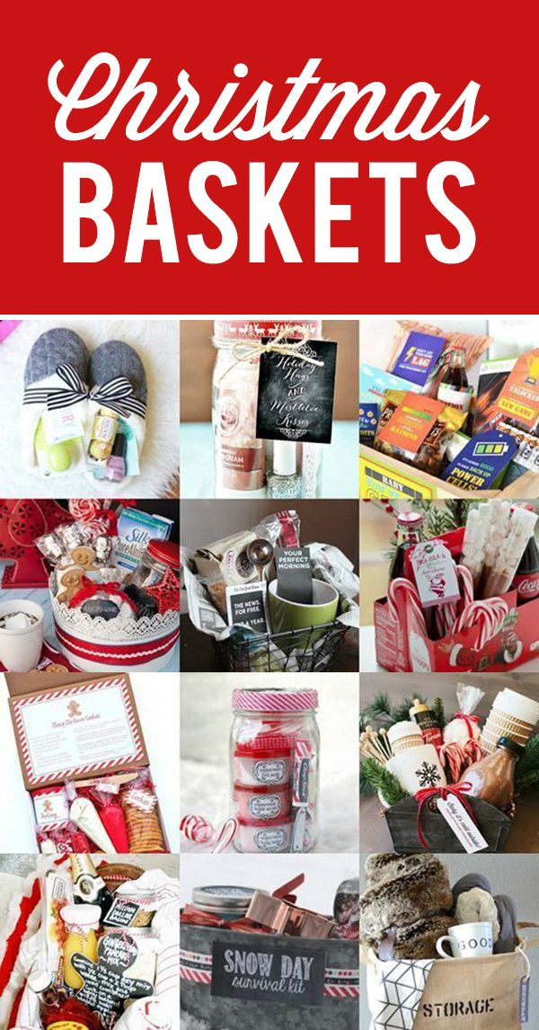 Fun Christmas gift baskets to give to friends and neighbors to spread holiday cheer.