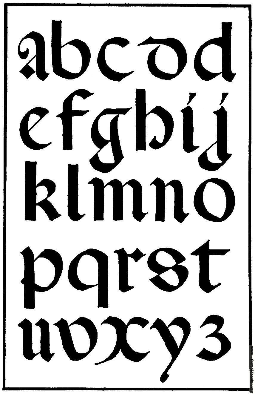 Gothic calligraphy italian round small