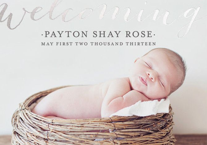 Welcoming Birth Foil Pressed Birth Announcements