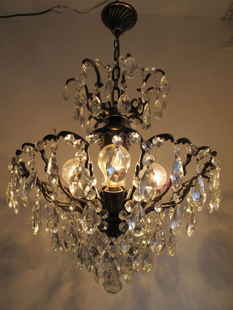 Antique French Huge Spider Style Crystal Chandelier Lamp Light