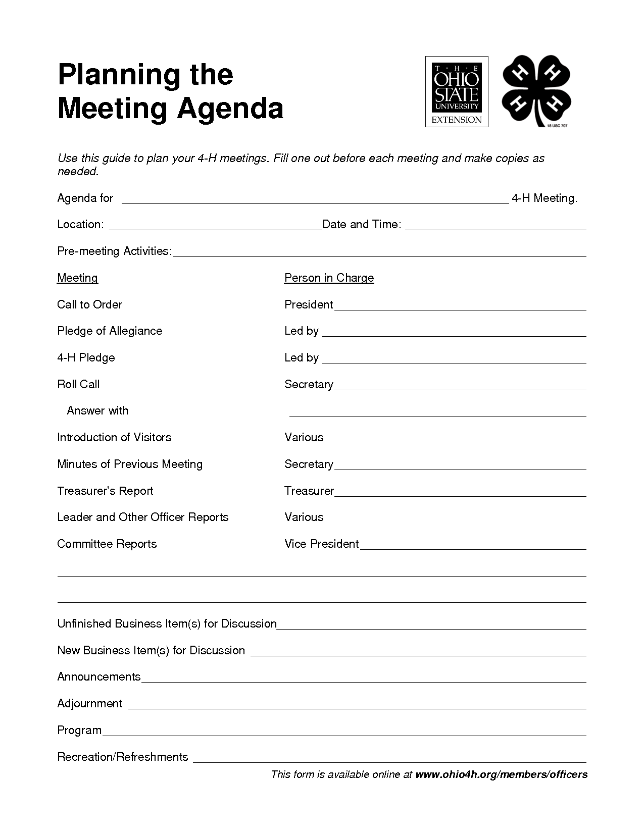 4 H Meeting Agenda Template