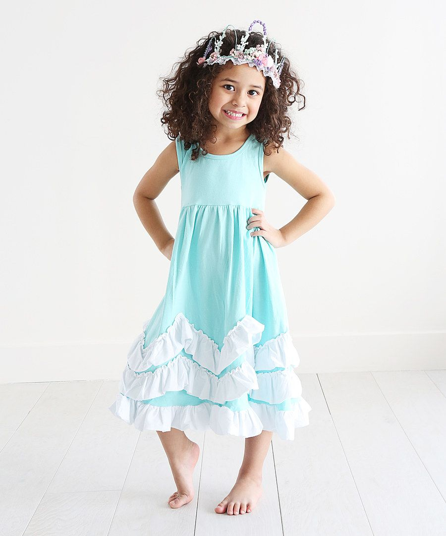 Look at this Just Couture Mint & White Ruffle A-Line Dress - Infant, Toddler & Girls on #zulily today!