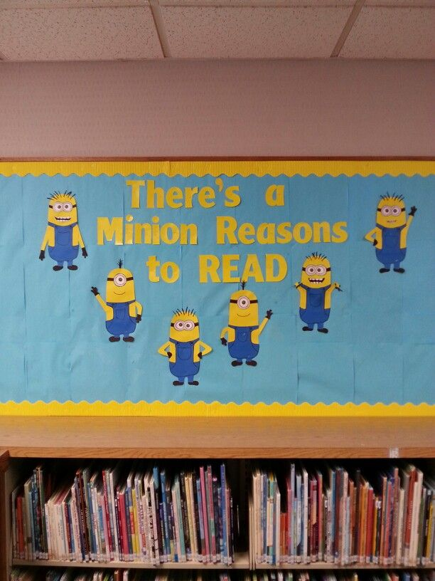 cute despicable me bulletin board for an elementary school library