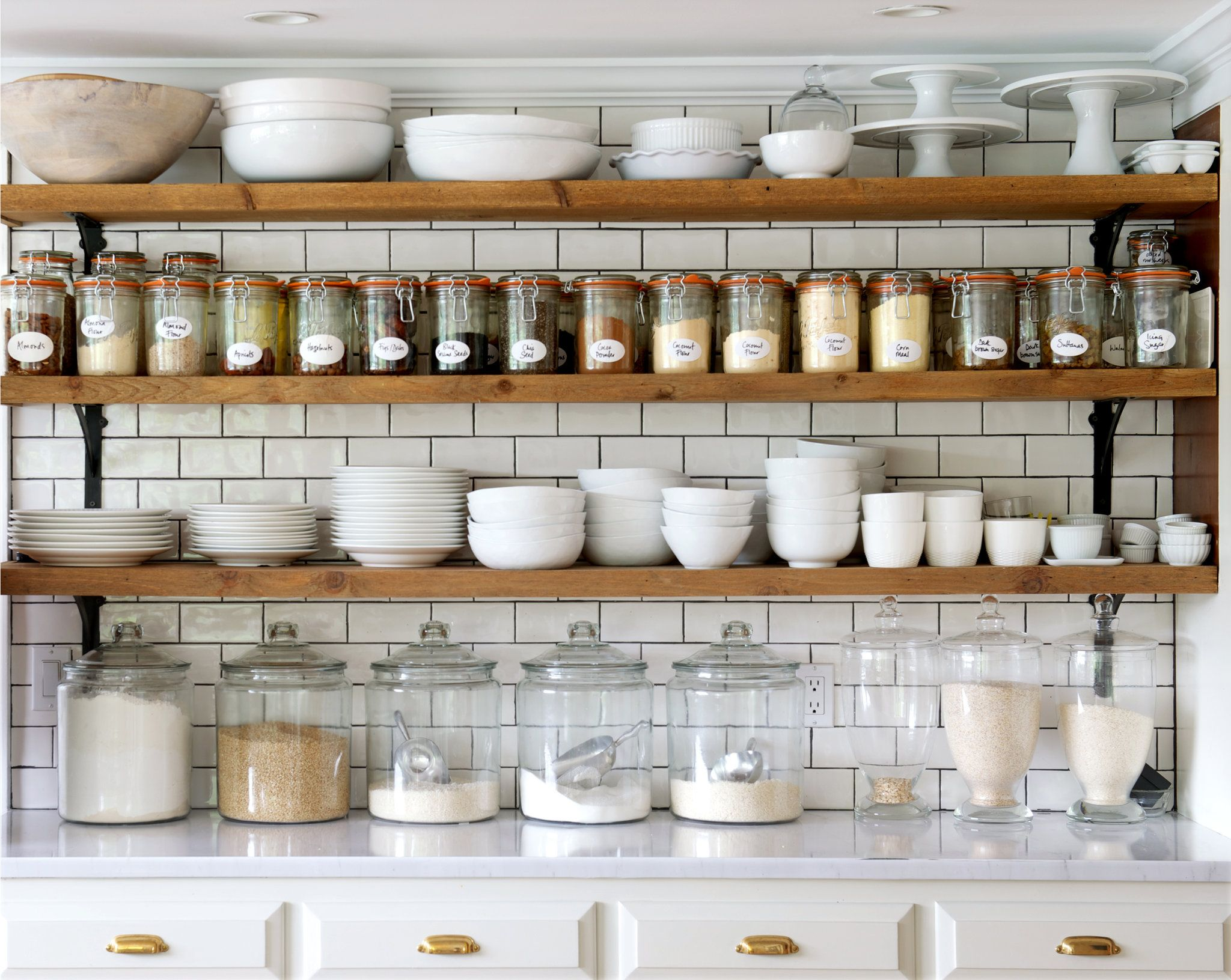 jane green's creaky cottage | upper cabinets and shelving