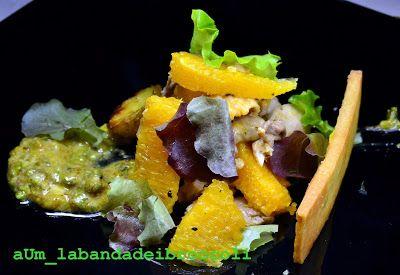#Insalata di #faraona e arance con finta maionese ai pistacchi e crackers di riso #food