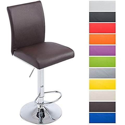 CLP Tabouret de bar KOLN ergonomique assise similicuir réglable en