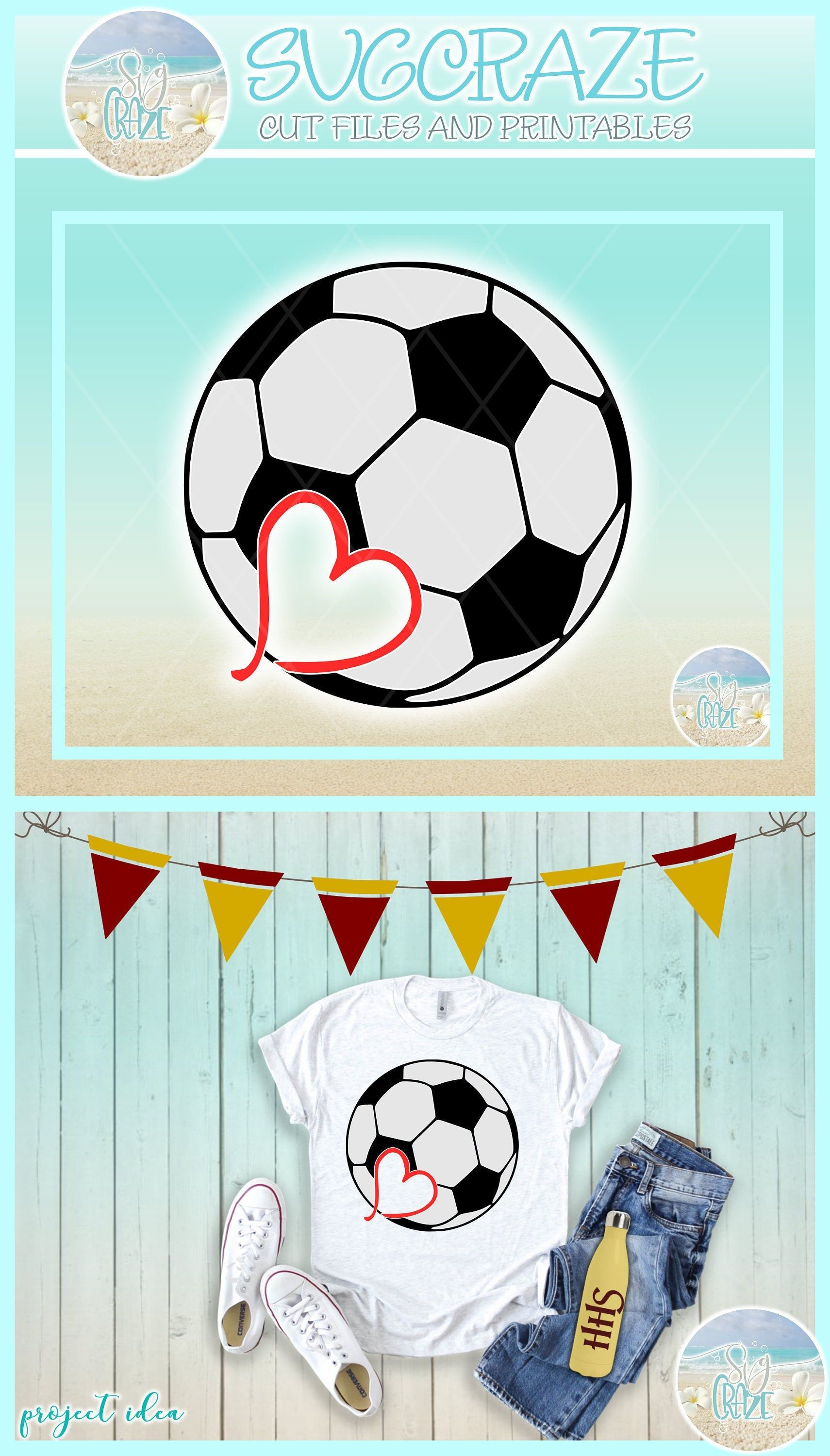 Soccer ball With Heart Sports Enthusiast SVG Dxf Eps Png