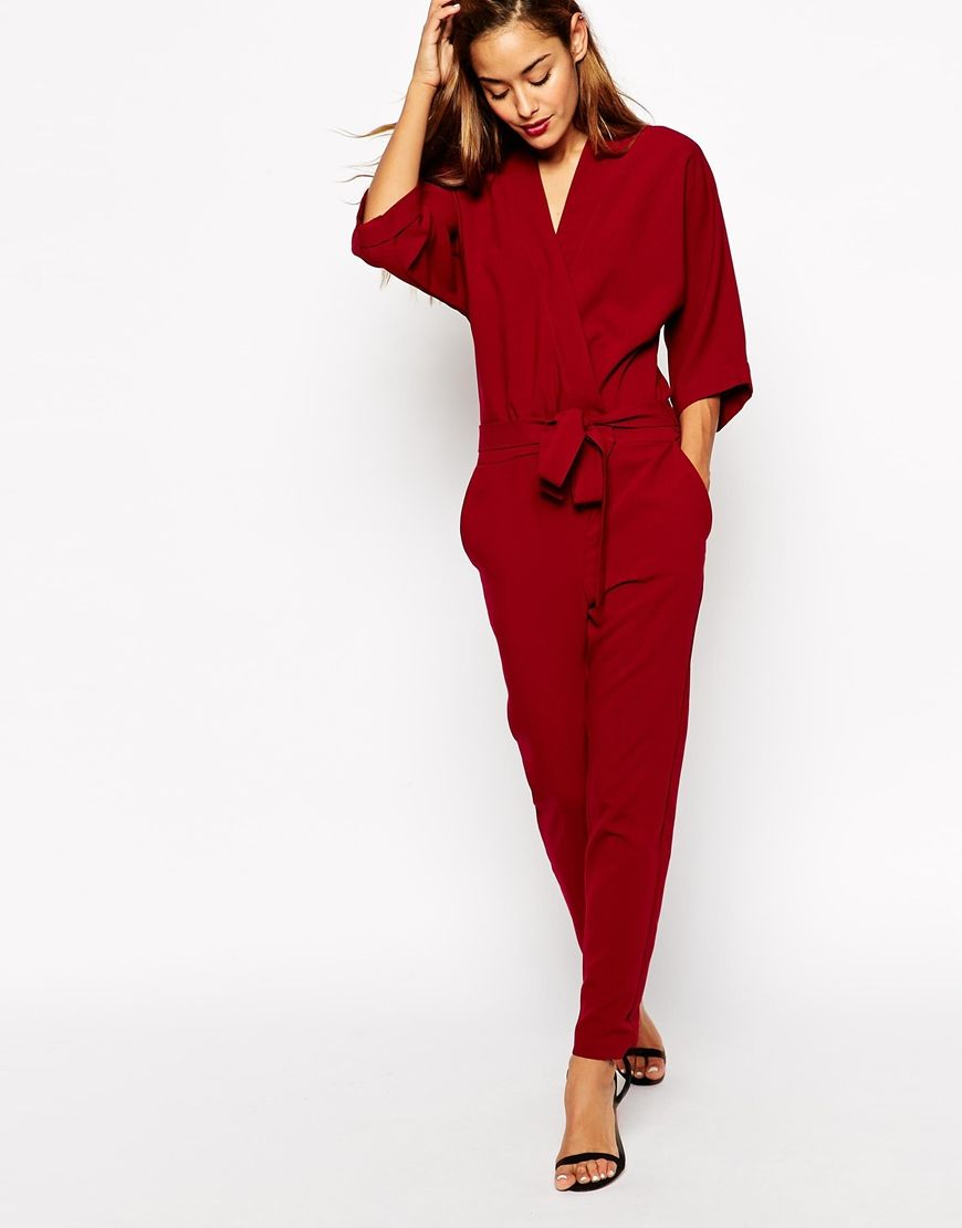 Jumpsuit With Tie Waist And Long Sleeves | ASOS, Ties and Jumpsuits