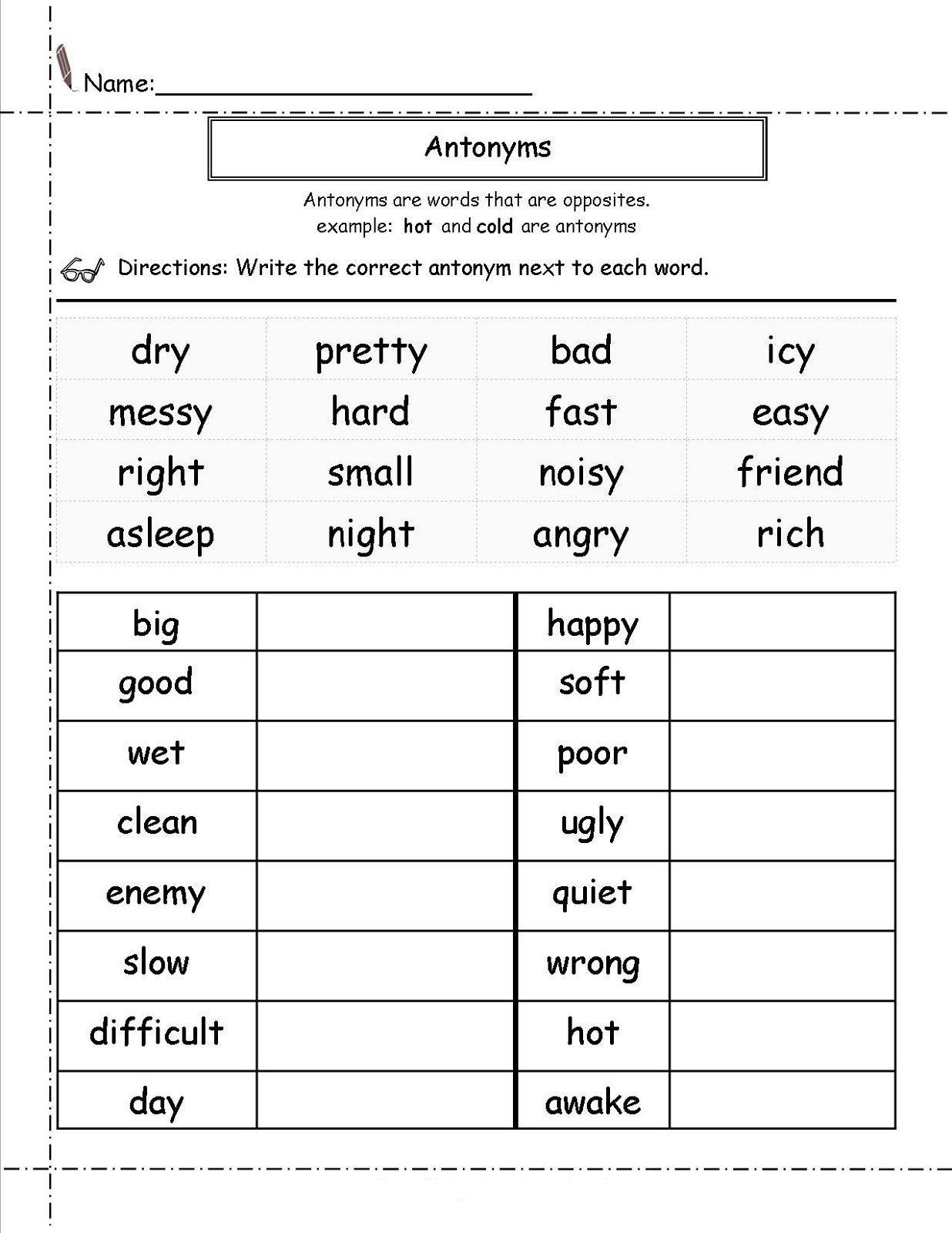 Second Grade Worksheets English Antonyms Learning Printable In 2020 2nd Grade Math Worksheets 2nd Grade Reading Worksheets 2nd Grade Worksheets