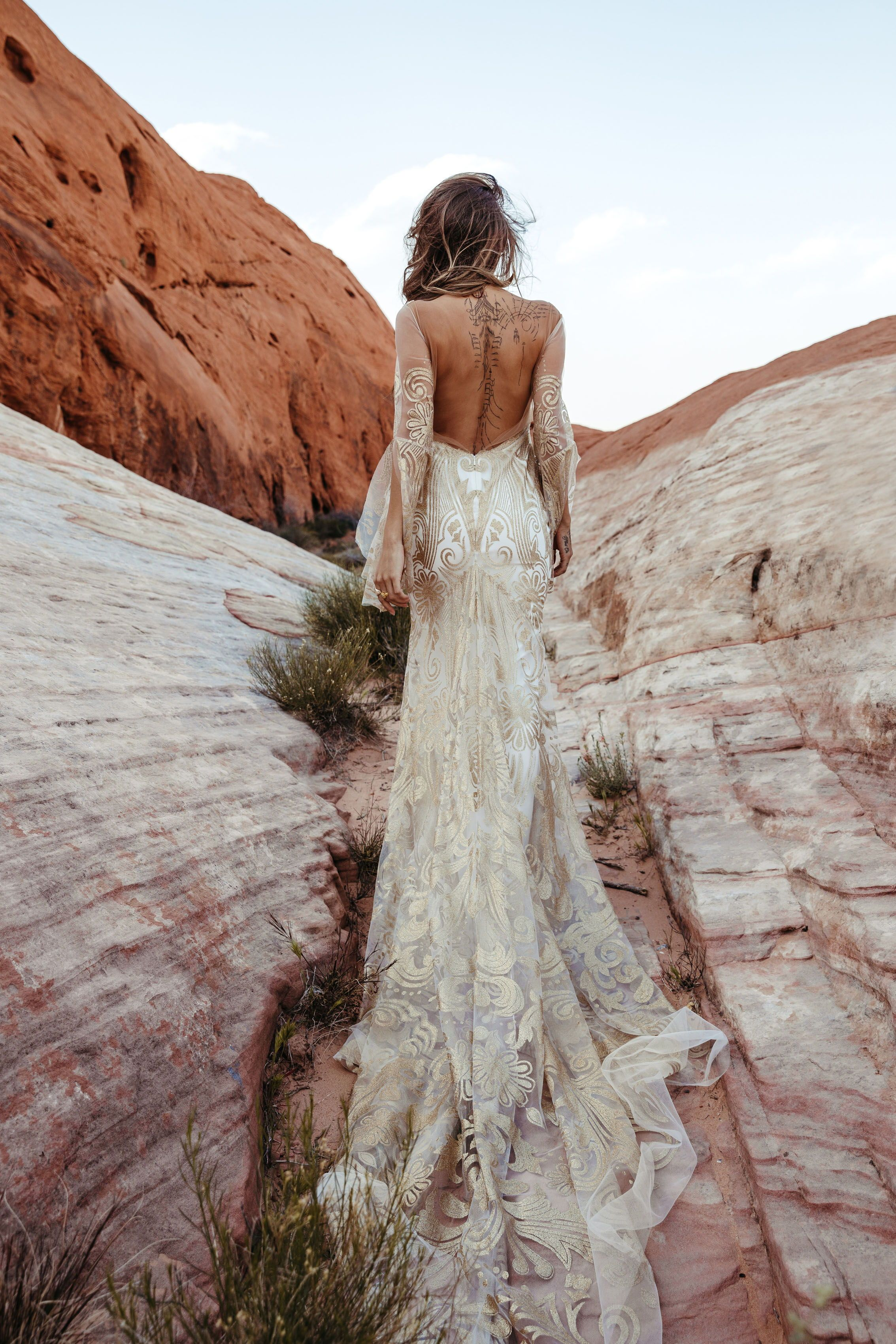 Introducing The New Rue De Seine Collection Golden Rhapsody A Be Bridal Shop Bohemian Wedding Gown Bridal Gown Bohemian Backless Wedding