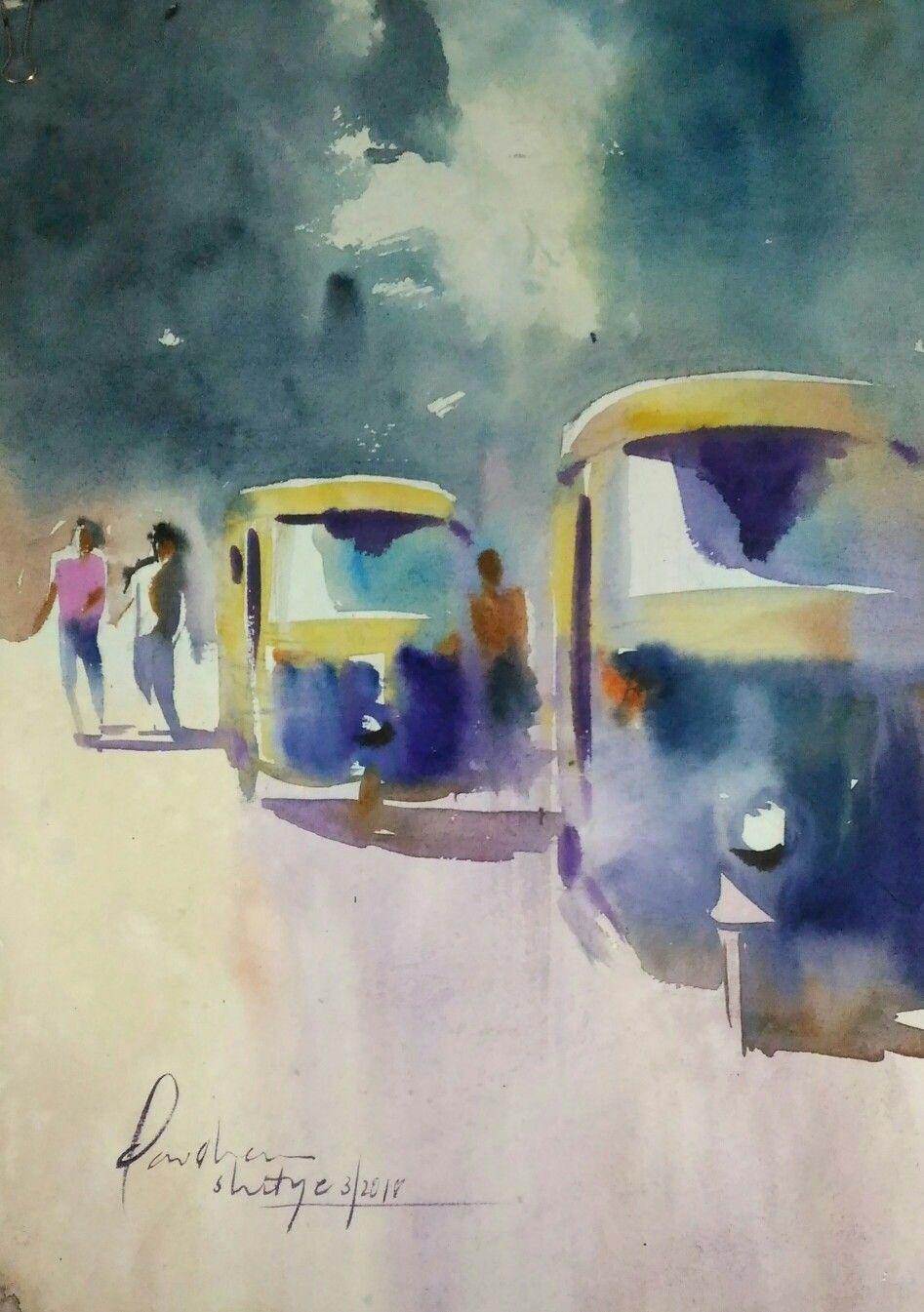 A Watercolor Painting Of Auto Rickshaws India India Art