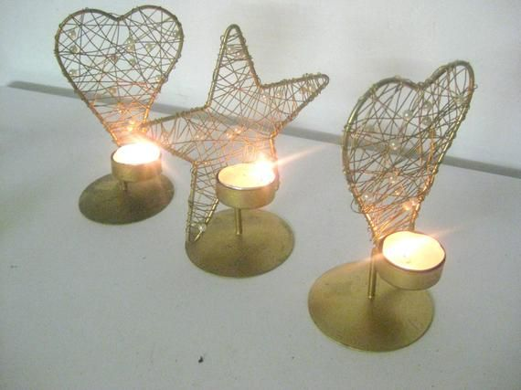 Free Free Shipping Sale Candle Light Metal Designer Gold Table Deco Frame Candle Clock Wind Light Set Candlestick Advent Gift Candlestandstar Germanv Windlicht