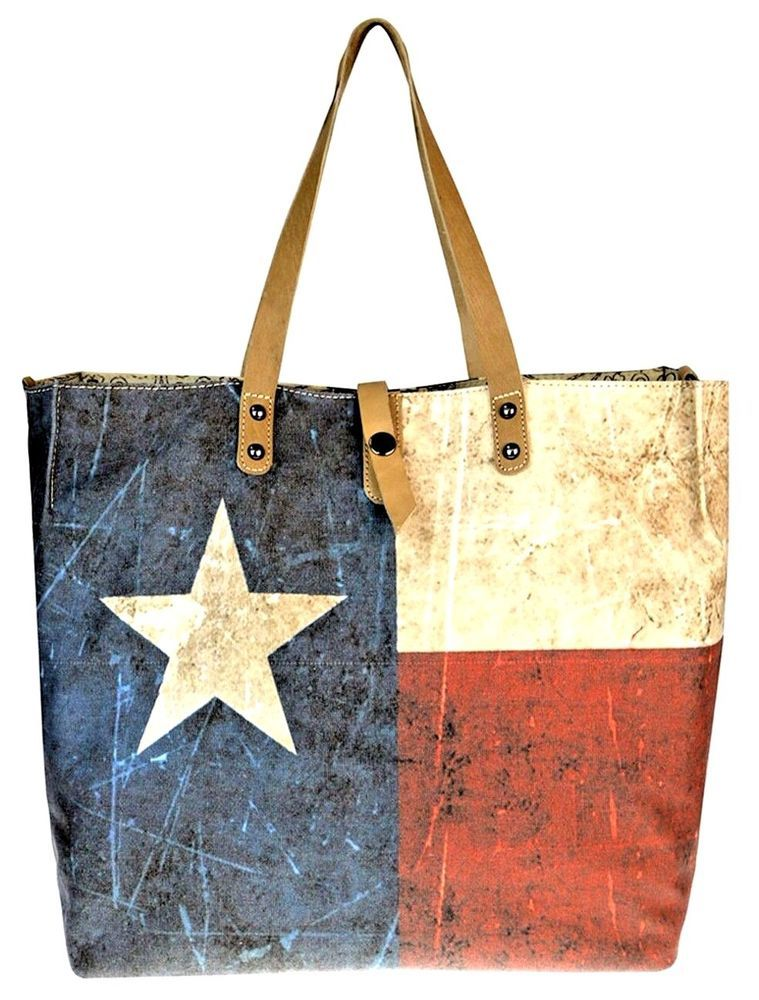 Montana West Dual Sided Texas Flag American Flag Canvas Tote Purse Leather Trim Montanawest Totebag Montana West Handbags Leather Tote Purse Fabric Tote Bags