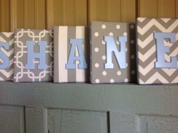 8x10 upholstered letter plaque nursery name decor in gray and white wall letter