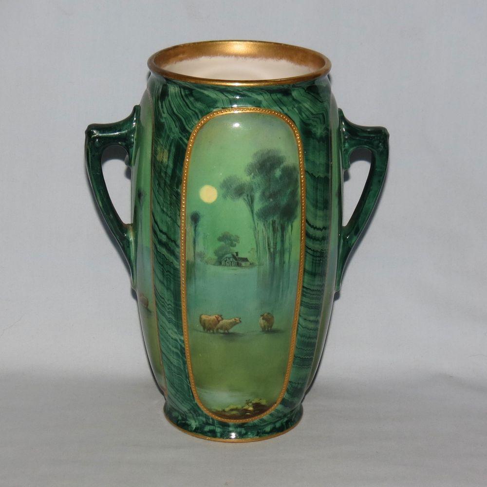 Royal Doulton Malachite Ware Handpainted twin handle vase