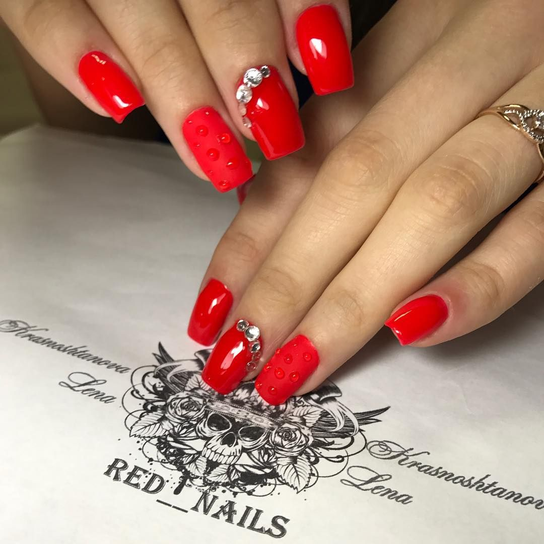 Gorgeous Winter Red Nail Art Designs | Red nail art, Red nails and ...