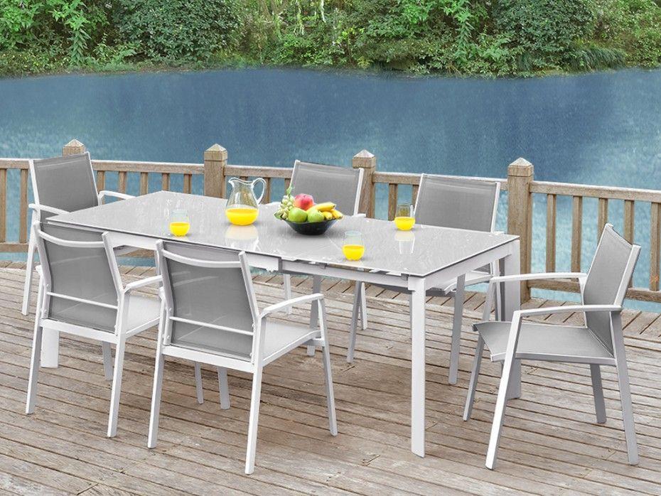 Salle à manger de jardin PALAOS en aluminium Table