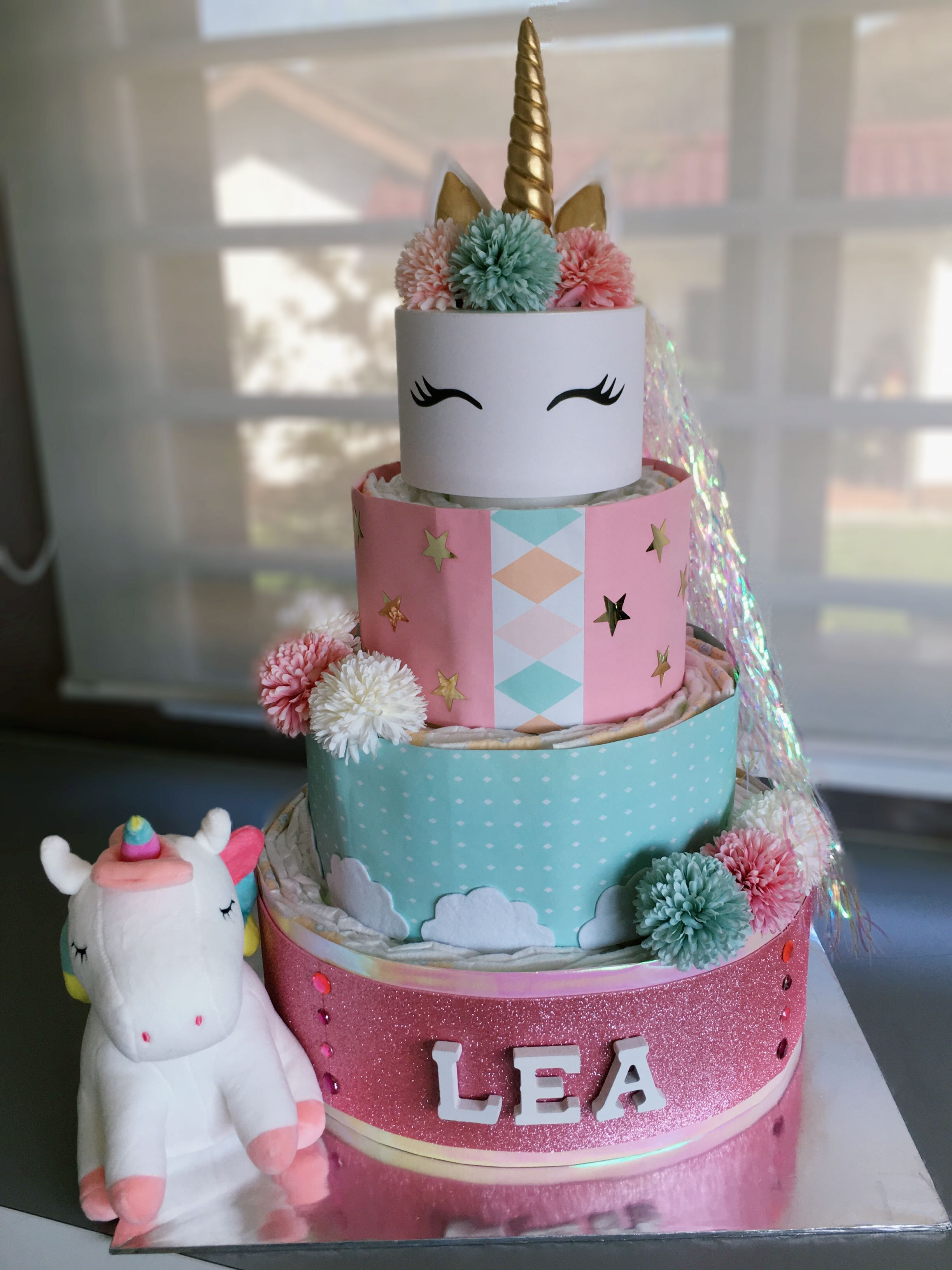 Unicorn Diaper Cake With Images Baby Diaper Cake Diaper Cake