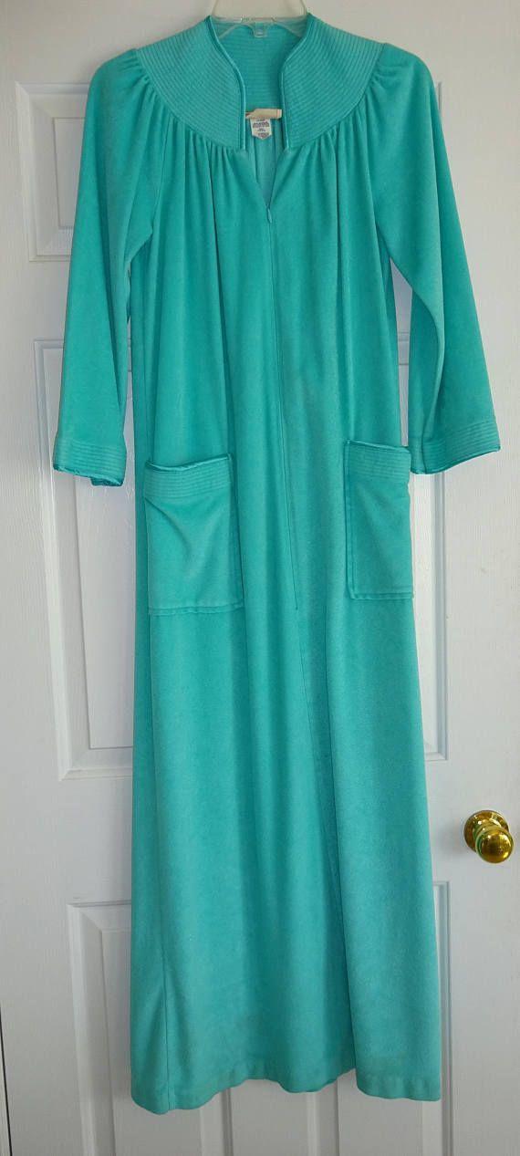 Vintage Robe Aqua Turquoise Zip Front Loungewear Small