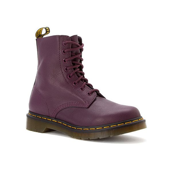 Dr. Martens Pascal 8 ($88) ❤ liked on Polyvore featuring shoes, boots, ankle booties, purple virginia, women, purple boots, leather ankle booties, leather boots, purple booties and ankle boots