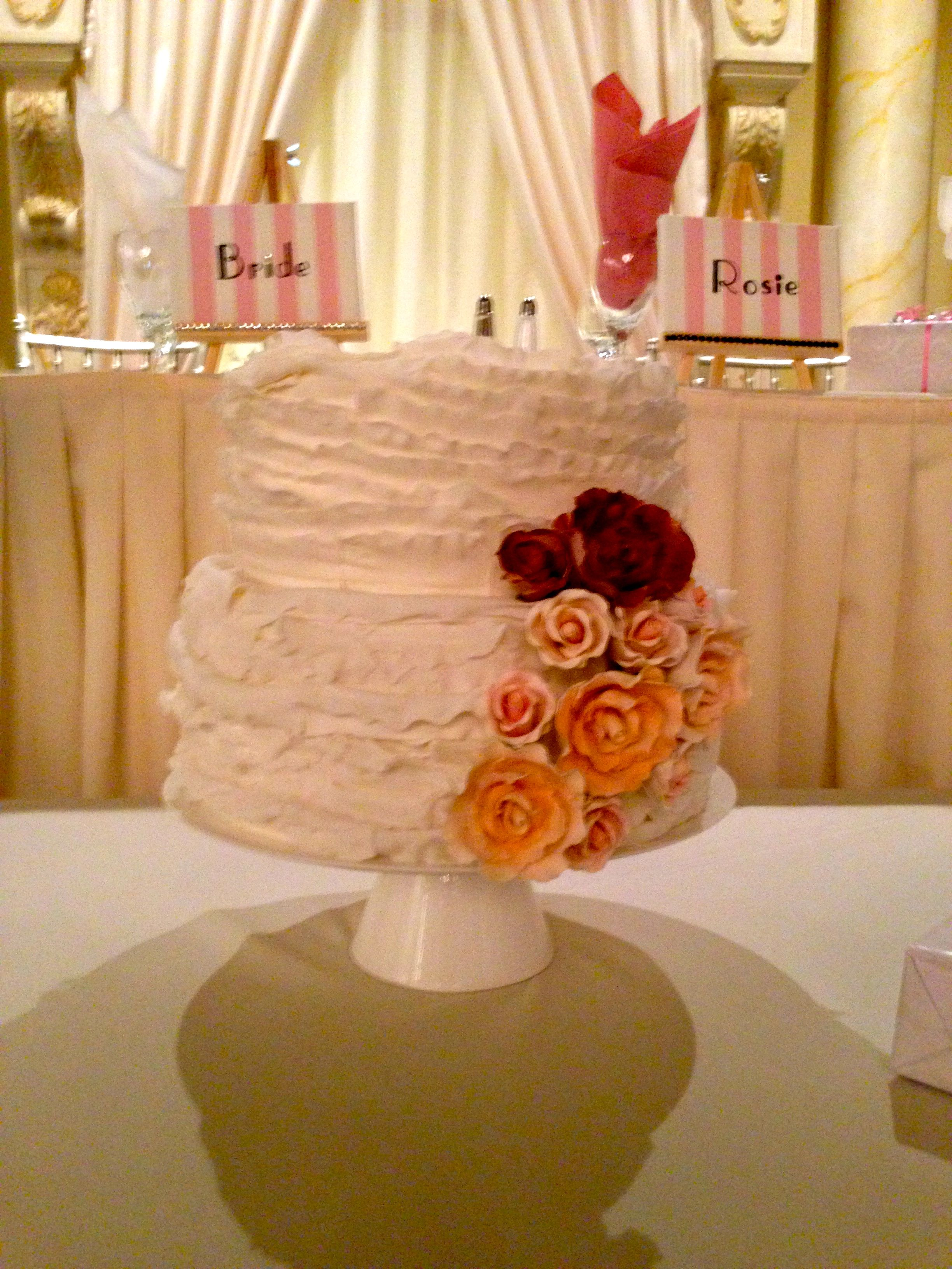 2tier cake made for a bridal shower but equally stunning