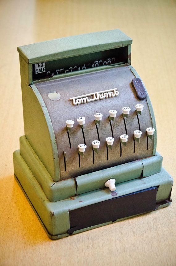 Light Green Tom Thumb Cash Register 1950s Metal by 8trackstudios, $27.00
