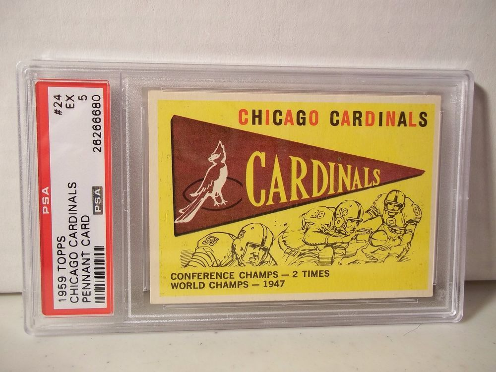 1959 Topps Chicago Cardinals Pennant PSA EX 5 Football Card #24 NFL Collectible #ChicagoBears