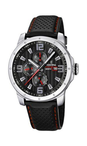 467a913c25e Men's Wrist Watches - Mens Watch Festina F165858 Leather Band Black Dial  >>> Want additional info? Click on the image.