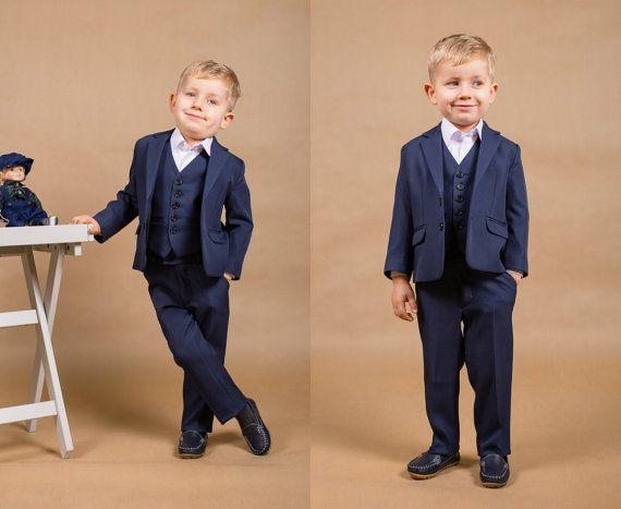 4 Pcsboy Suit Ring Bearer Navy Boy Holy Communion Boys SuitsNavy SuitsToddler