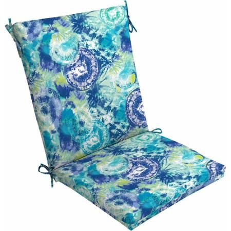 Mainstays Outdoor Dining Chair Cushion, Blue Tie Dye   Walmart.com
