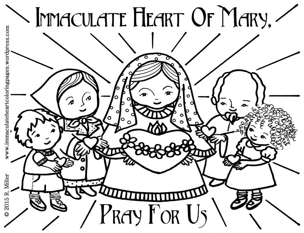 Immaculate Heart of Mary Coloring Page | Mary, Printable coloring ...