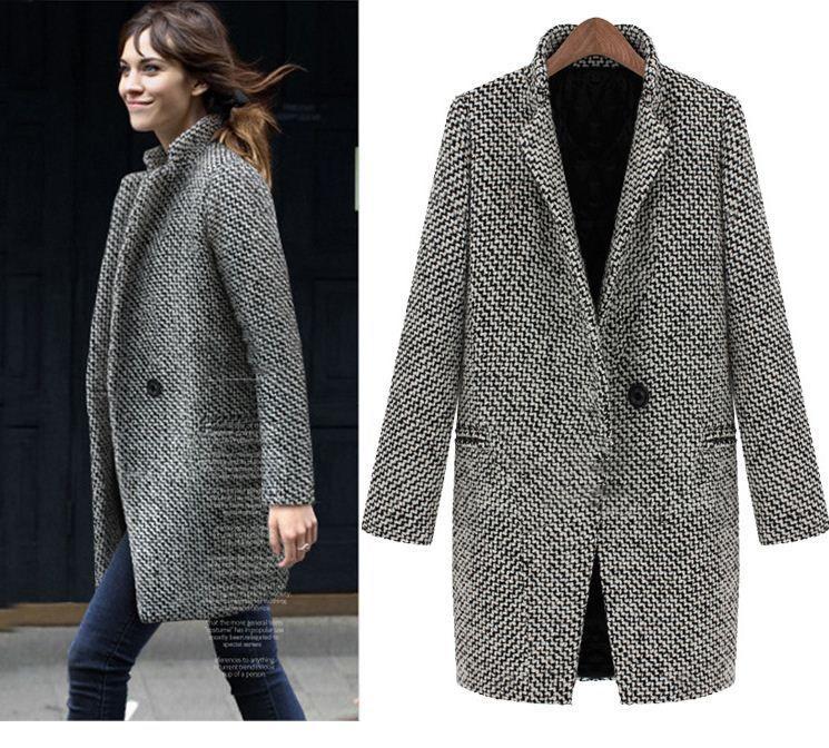 El Otoño 2014 Y Mujeres Pata Invierno Lana Tweed De Abrigo EEdrwq