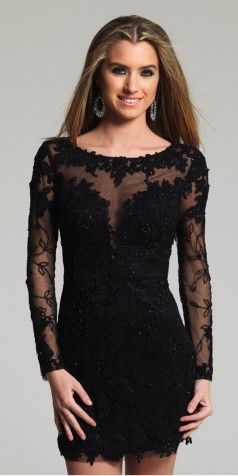 Prom dresses black tight long sleeve
