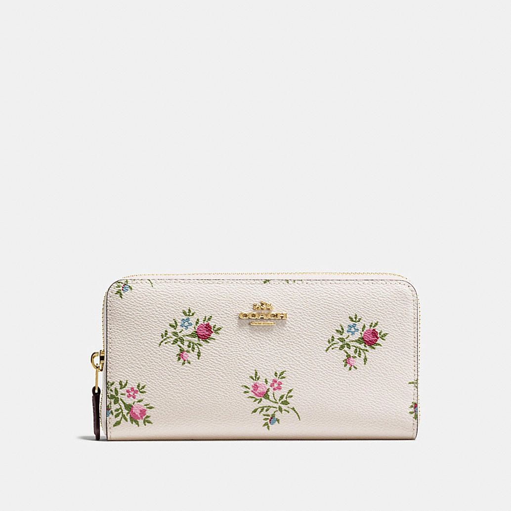 Accordion Zip Wallet With Cross Stitch Floral Print Purses