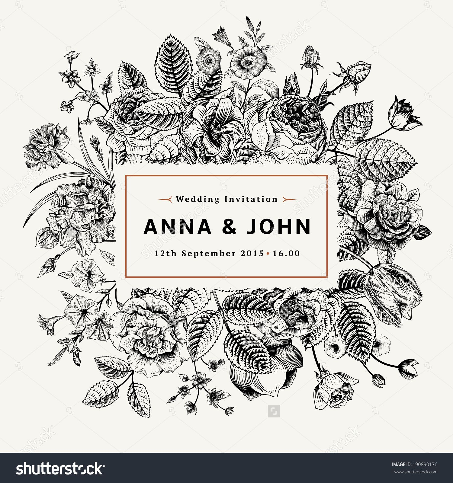 Vintage Elegant Wedding Invitation With Summer Flowers