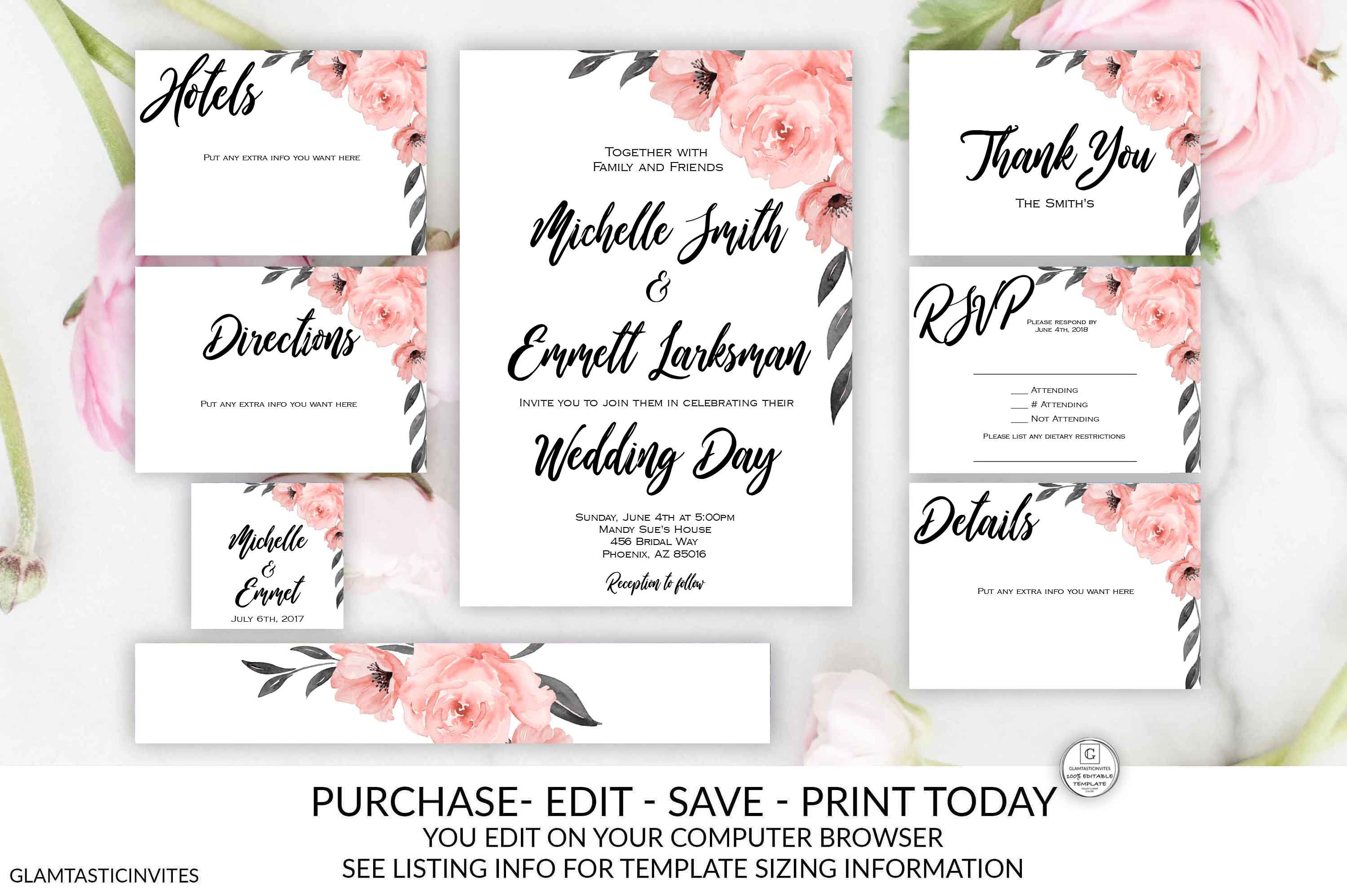 Coral Gray Floral Wedding Invitation Package Set Kit Editable Etsy Wedding Invitation Packages Floral Wedding Invitations Wedding Invitations Online