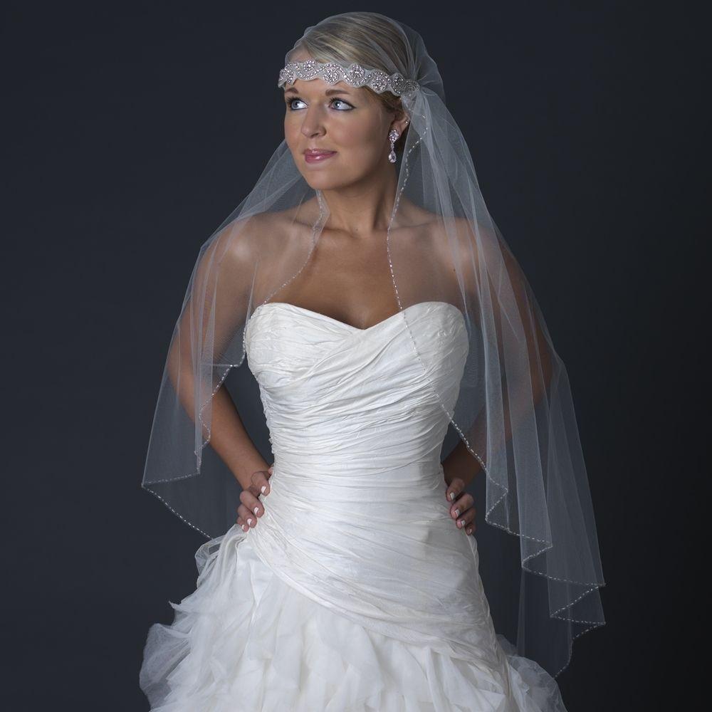 Victorian Style Wedding Hair: Beaded Knee Length Victorian Style Headband Wedding Veil
