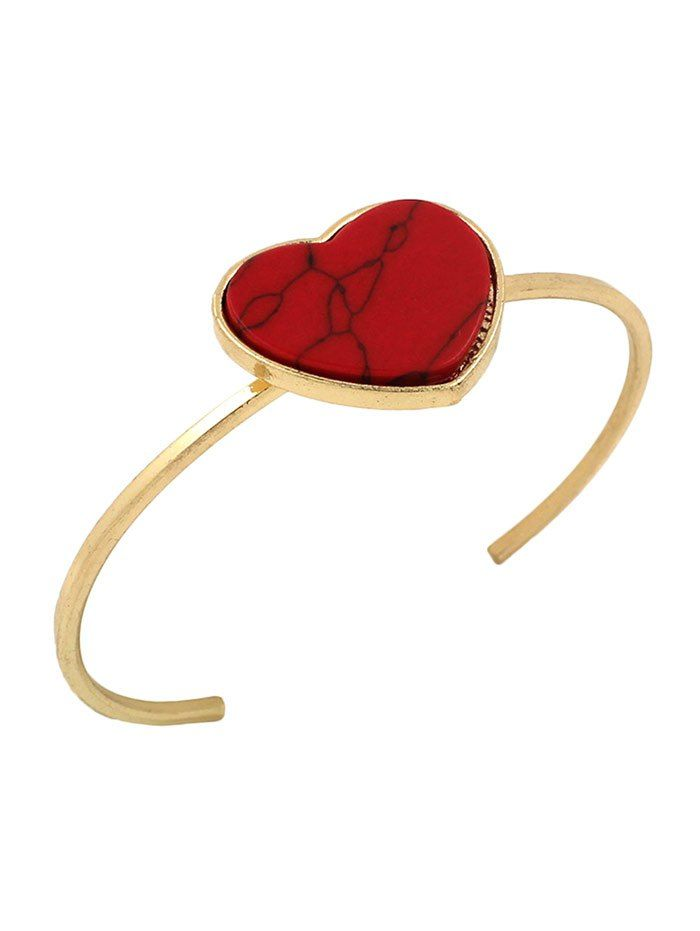 Artificial Gemstone Heart Cuff Bracelet #women, #men, #hats, #watches, #belts, #fashion