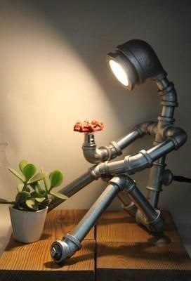 Pipe Table Lamp - Humanoid Robot Lamp | Steampunk Table Lamp – Novarian Creations