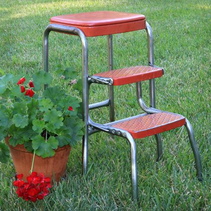 Red Vintage Kitchen Step Stool Open Shelving High Ceilings This Lovely Number