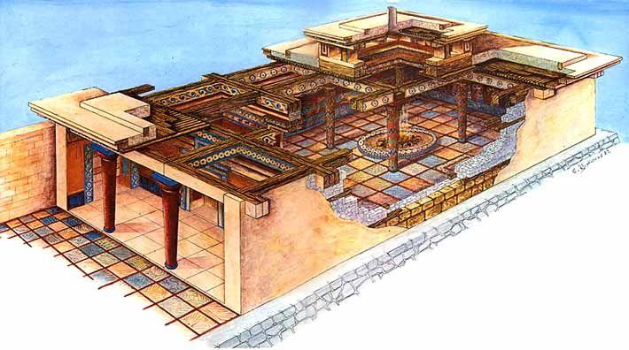 Illustration of a Megaron, the palace/throne room of Mycenaean ...