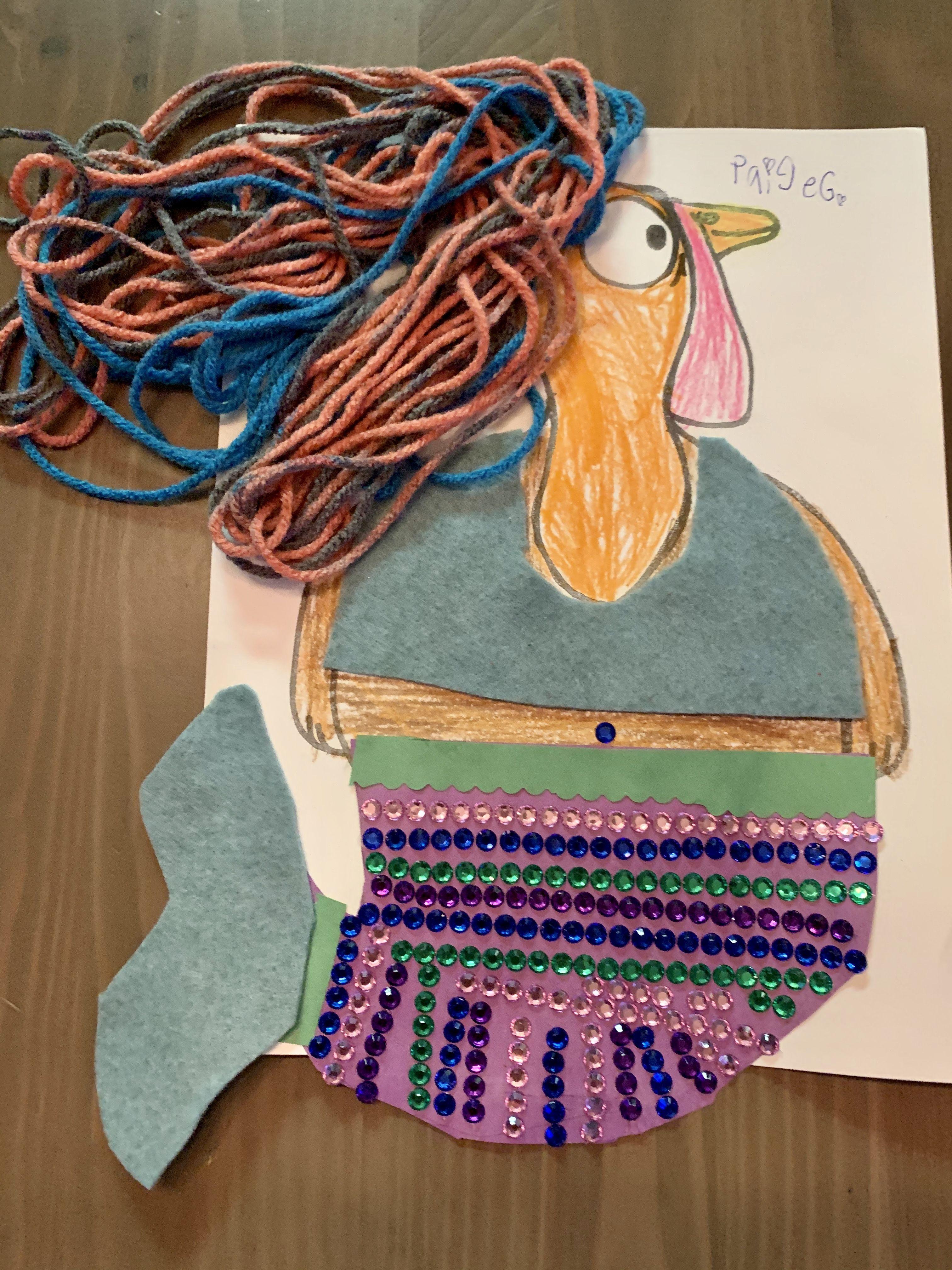 Disguise a turkey school project- mermaid turkey, hide a turkey #disguiseaturkeyideas Need an idea for a girl hide a turkey project? Easy mermaid with sticker rhinestones, felt and yarn. #disguiseaturkeyideas