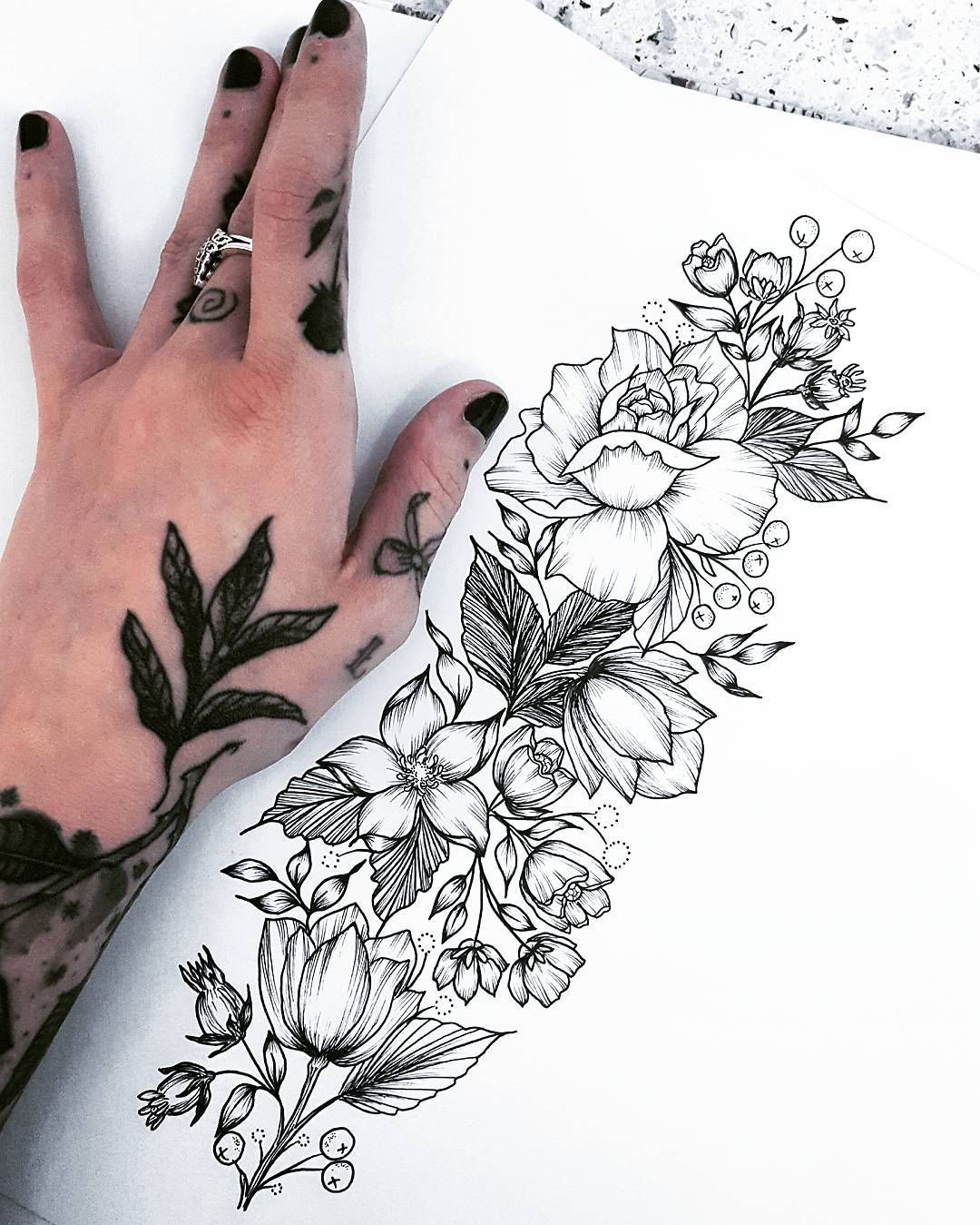 Maggy Biersack Floral Tattoo Sleeve Floral Illustration Tattoo Botanical Tattoo Design