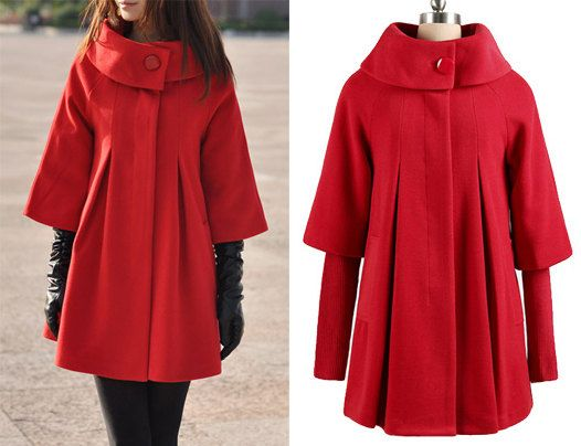 grossiste ca3dc 9ec25 Red Cape laine manteau hiver femme manteau Long robe ...
