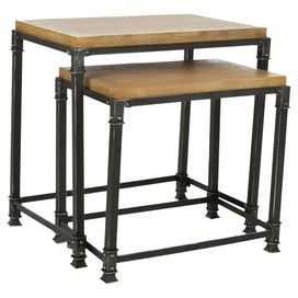 Two industrial-style ash wood nesting tables.   Product: Small and large nesting tableConstruction Material: Ash woodColor: NaturalDimensions: 24.2 H x 24.5 W x 16.1 D (large)
